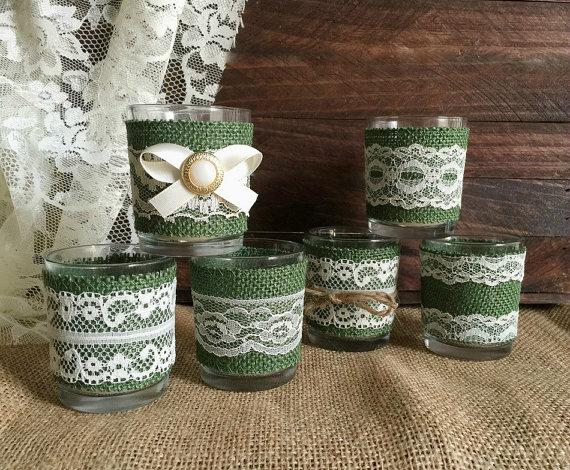 Wedding - 6 Hunter green burlap and ivory lace coveret votice tea candles, wedding, bridal shower table decoration