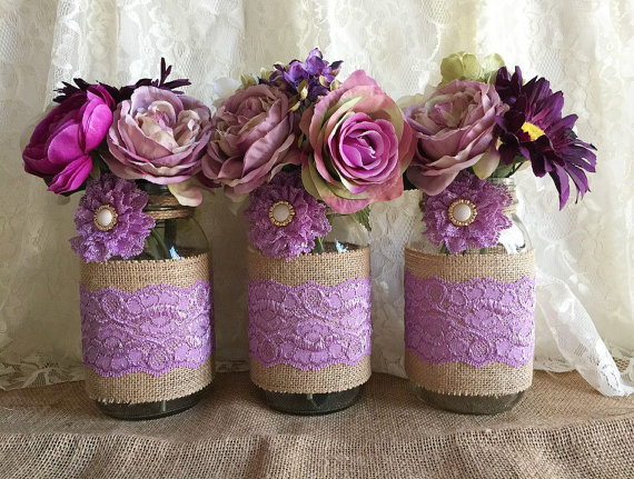 Lavender Rustic Burlap And Lace Covered 3 Mason Jar Vases Wedding