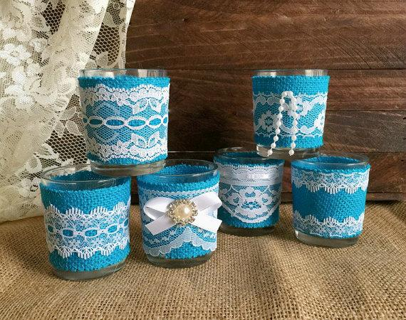 6 Turquoise Burlap And White Lace Covered Votive Tea Candles ...