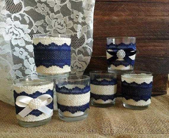 Navy Blue And Ivory Rustic Burlap Lace Covered 6