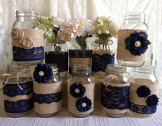 10x Rustic Burlap And Navy Blue Lace Covered Mason Jar Vases Wedding