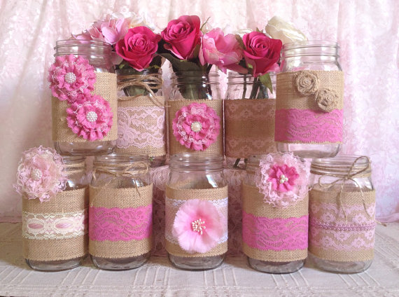 10x Rustic Burlap And Pink Lace Covered Mason Jar Vases Wedding