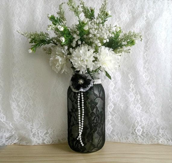Black lace covered half gallson ball mason jar vase for Vase de decoration interieur