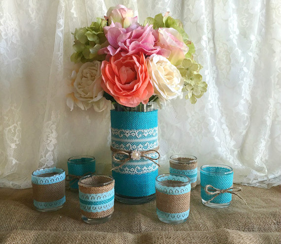 Tiffany Blue Burlap And Lace Covered Votive Tea Candles And Vase