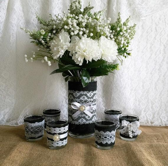 Black Burlap And White Lace Covered Votive Tea Candles And Vase