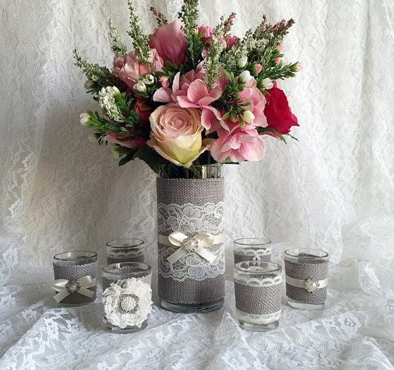 Rustic Light Grey And Ivory Burlap Lace Covered Votive Tea Candles Vase Wedding Decorations Bridal Shower Decor