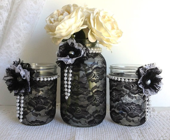 black lace mason jars black and white lace covered mason jars wedding decor bridal shower decor home decor gift or for you