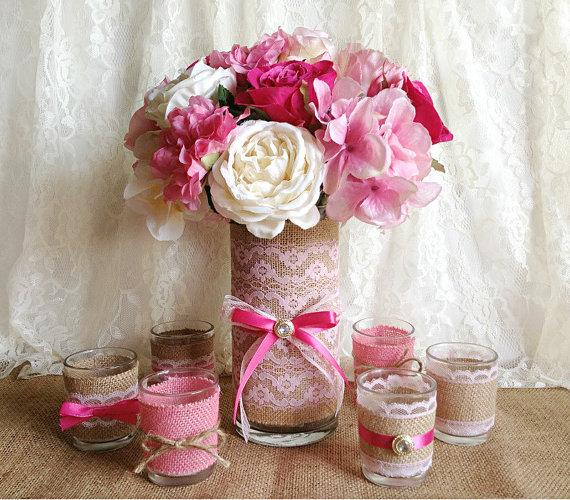 Natural Burlap And Pink Lace Covered 1 Vase And 6 Votive Tea Candles