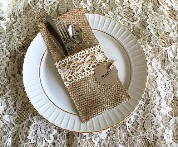 10 Burlap And Lace Rustic Silverware Holder Wedding Bridal Shower Tea Party Table Decoration