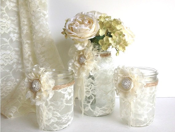 Flowers 1 vase and 2 candle holder wedding decor gift or for you new