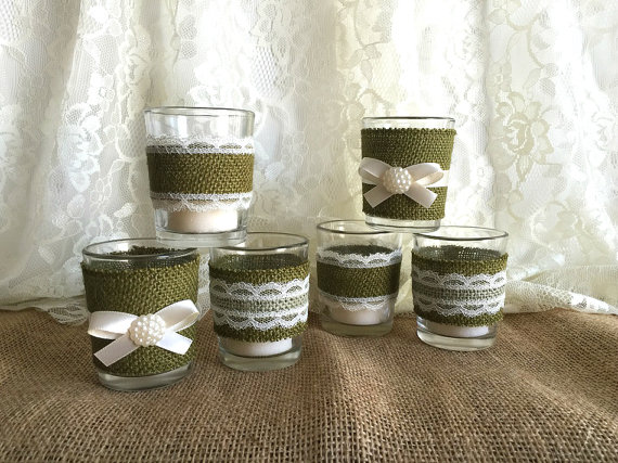 6 moss green burlap and lace covered votive tea candles country chic wedding decoration bridal shower decor or home decor vintage style