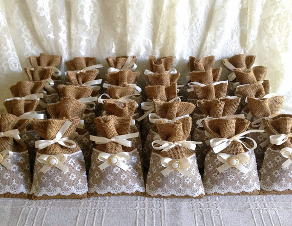50 Filled Potpourri Lace Covered Burlap Favor Bags Wedding Bridal