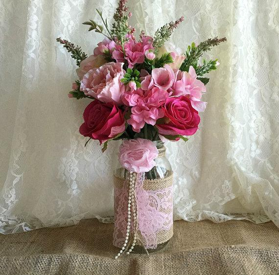 Pink Burlap And Lace Covered Mason Jar Vases Wedding Decoration