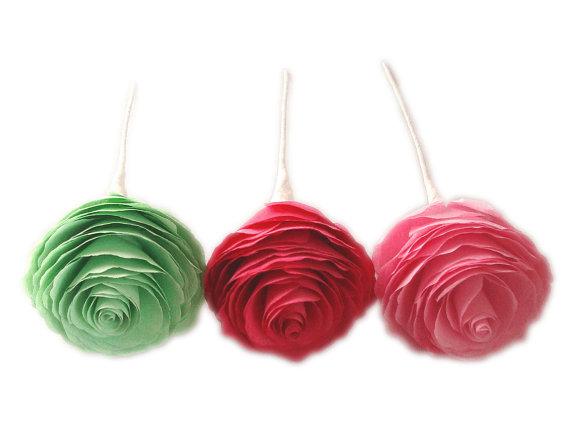 Mariage - Paper Peonies, Flower cake topper, Mint green peonies, Bridal Bouquet flowers, Wedding Flowers, Paper flower decor, Hot pink peonies