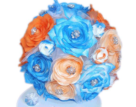 Blue and orange bridal bouquet artificial wedding bouquet paper blue and orange bridal bouquet artificial wedding bouquet paper bouquet wedding party bouquets fake flower bouquet blue silk bouquets mightylinksfo