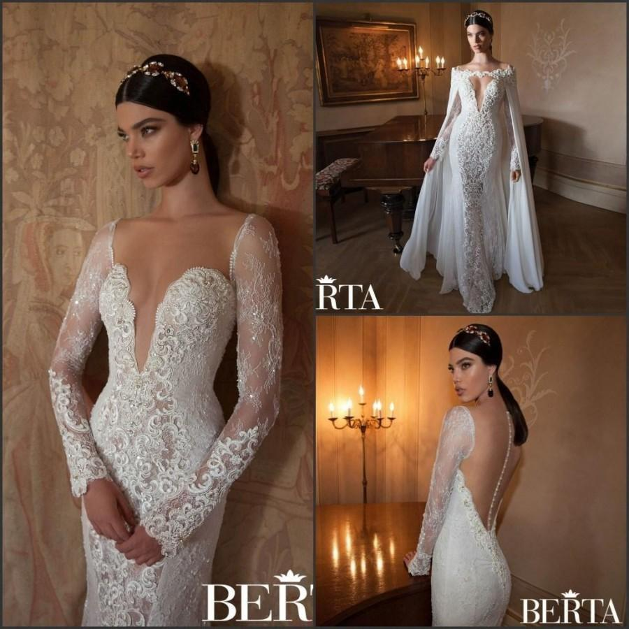 Wedding - Cheap Berta Wedding Dresses - Discount Berta 2015 Mermaid Wedding Dresses V Neck Long Sleeves Sheer Back Lace Bodice Applique Bridal Gown Vintage Elegant Illusion Removable Cape Online with $141.1/Piece