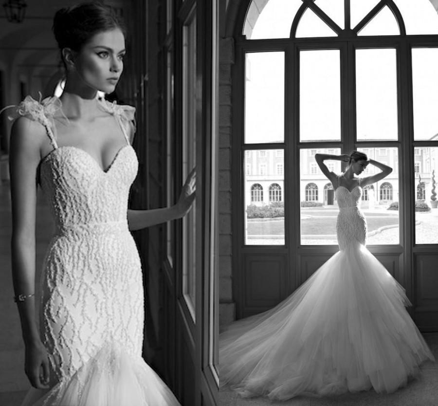 f1a6c4a93 Discount Vintage Berta Glamorous Mermaid Wedding Dresses 2014 Spaghetti  Court Train Satin Organza Applique Sexy Bridal Gowns Illusion Online with  $170.94/ ...
