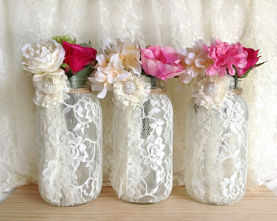 3 ivory lace covered ball mason jar half gallon vases wedding 3 ivory lace covered ball mason jar half gallon vases wedding decoration engagement anniversary or home junglespirit Gallery