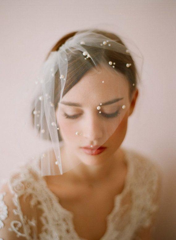 زفاف - Bridal Tulle Veil With Pearl Beads - Mini Tulle Veil With Pearls - Style 212 - Ready To Ship