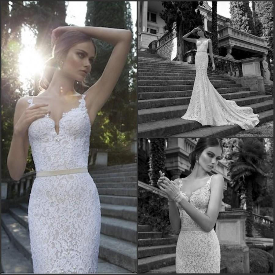 زفاف - Cheap Berta Wedding Dresses - Discount Berta Mermaid Wedding Dresses Plus Size 2015 Spaghetti Backless with Court Train Lace Waist Sexy Bridal Gowns Cheap Vintage Hot Online with $124.98/Piece