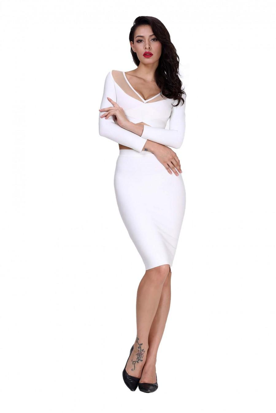 Norboe Long Sleeve Mesh White Bodycon Bandage Dress #2208909 ...