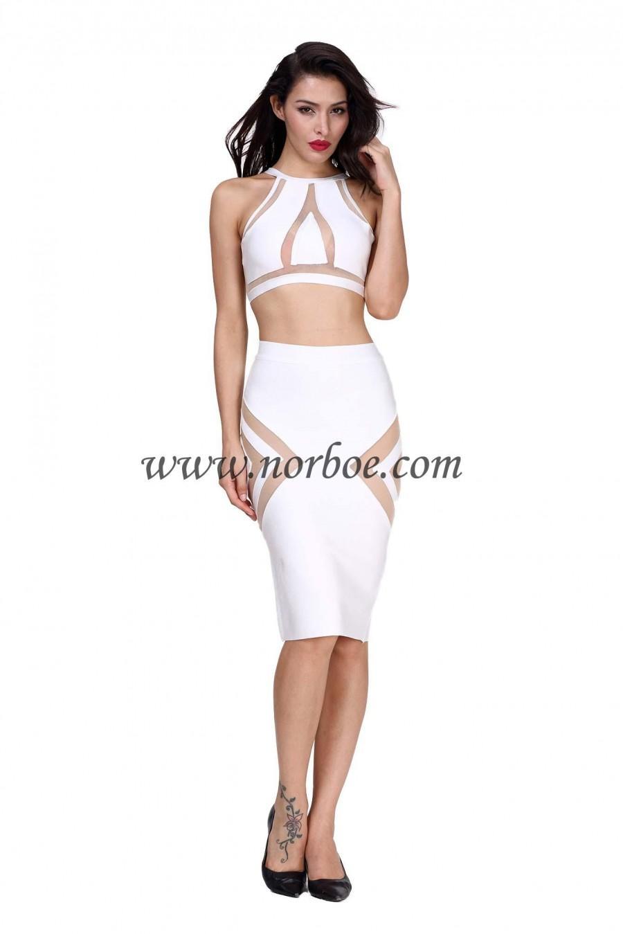 Norboe Bodycon Bandage Dress-White #2208914 - Weddbook