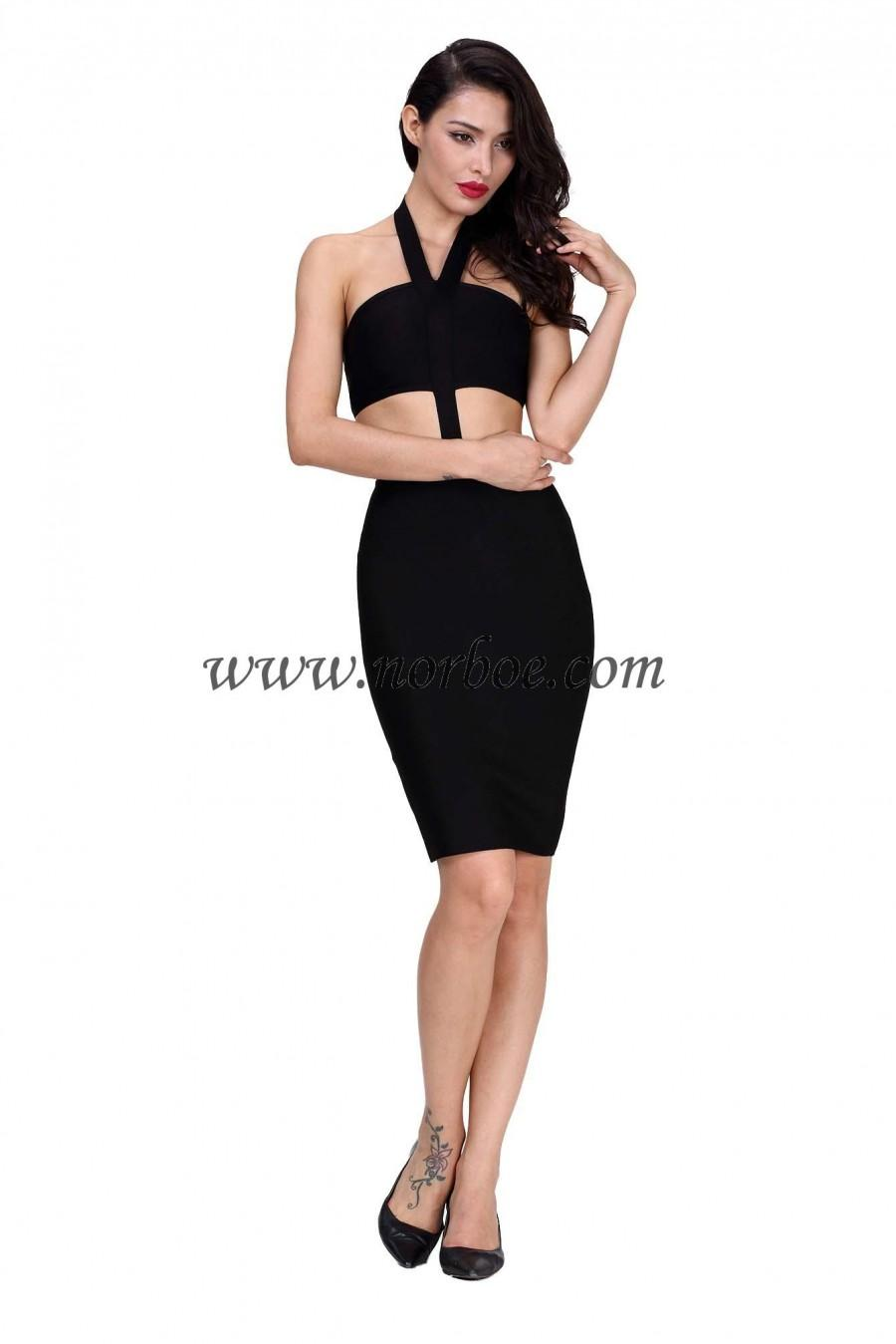 Wedding - Norboe Black One Piece Halter Bandage Dress
