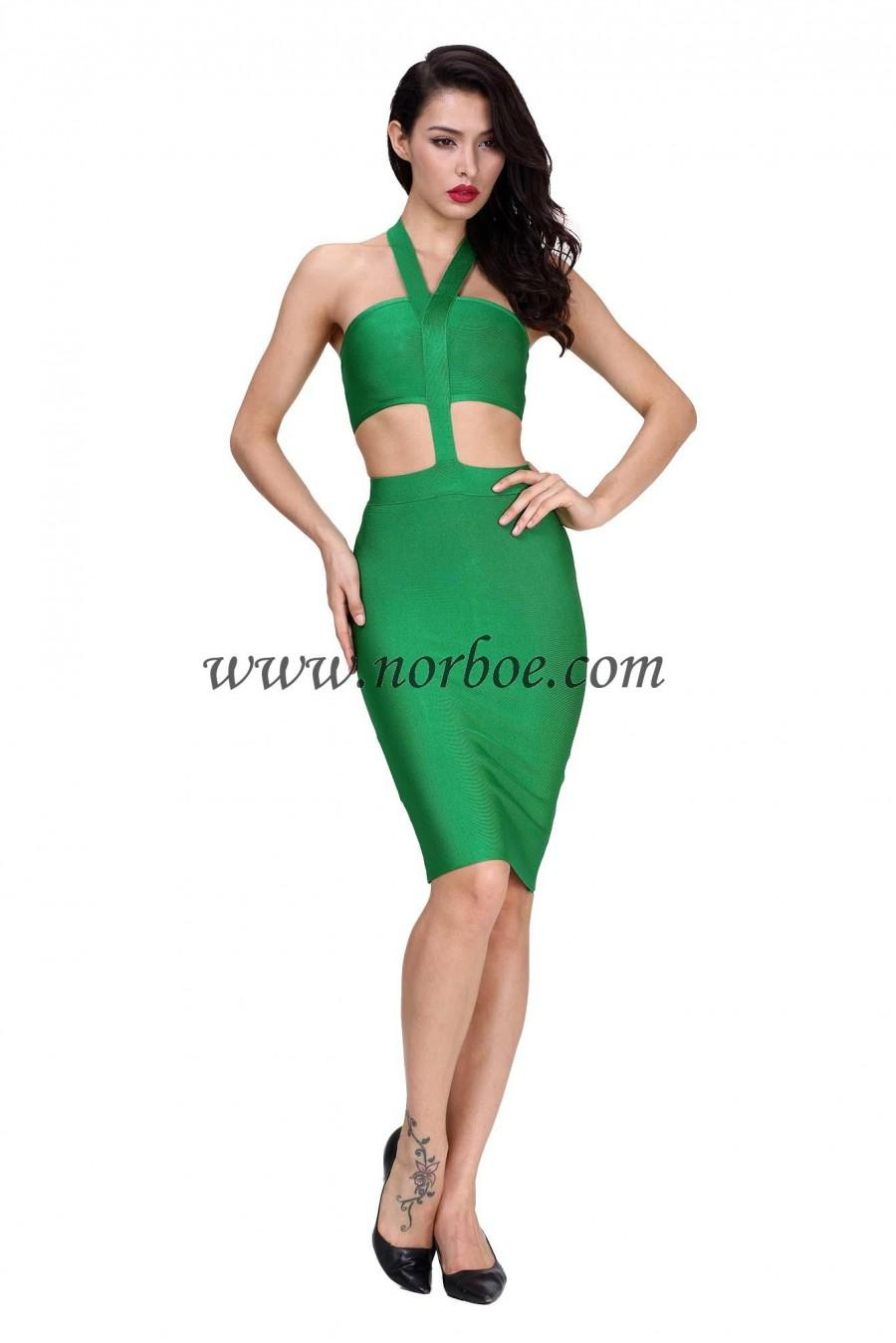 Wedding - Norboe New Halter Green Bandage Dress