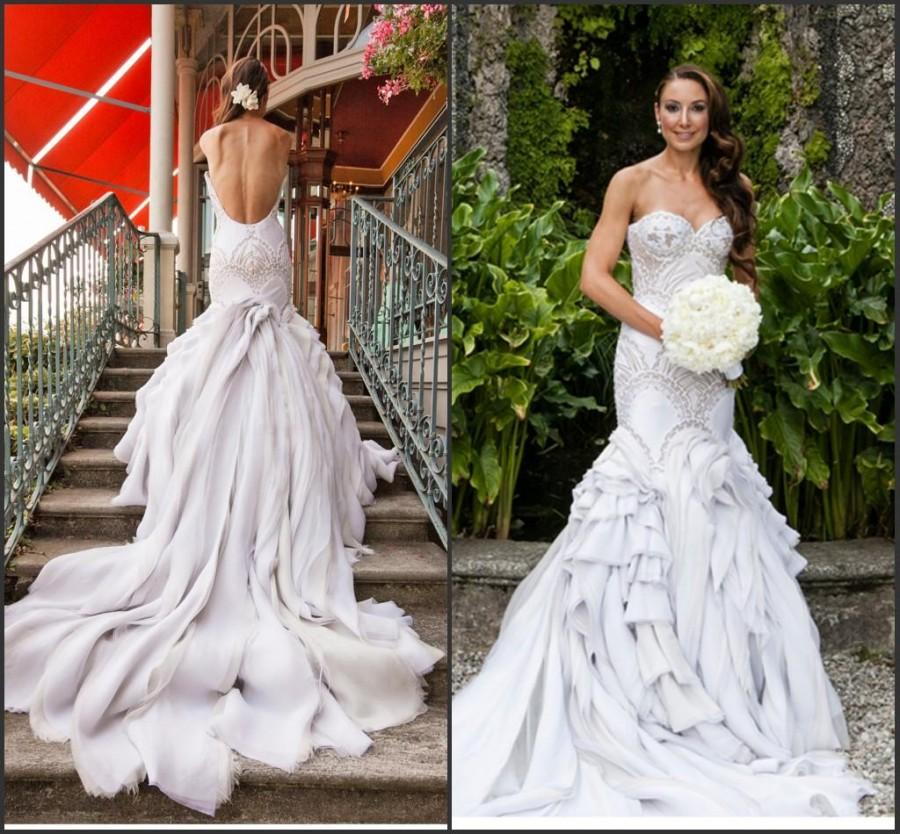 Свадьба - Discount Sexy Backless Wedding Dresses Mermaid Beads Tulle Tiers Sweetheart Color Open Back Bridal Dress Gowns 2015 Vestidos De Novia Custom Made Online with $141.9/Piece on Hjklp88's Store