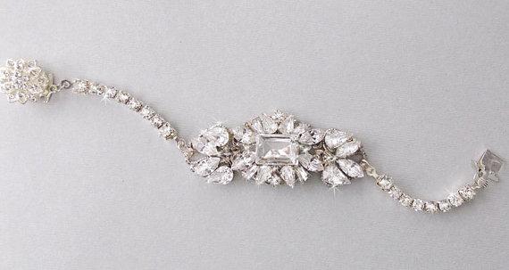 Wedding Bracelet Gatsby Bridal Swarovski Crystals Vintage Style Rhinestone Art Deco Anastasia