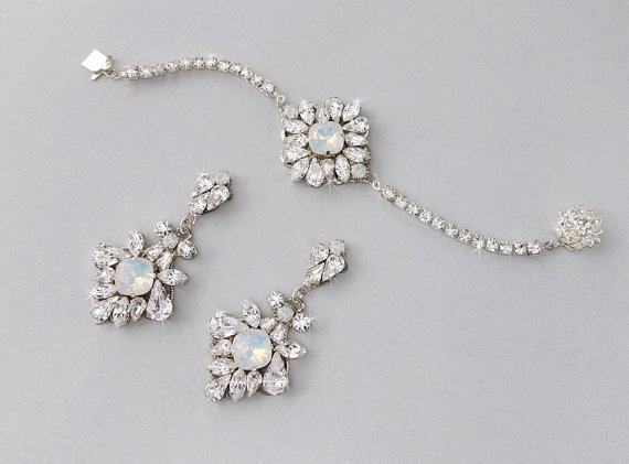 Wedding Jewelry Set Bracelet Bridal Earrings Opal June