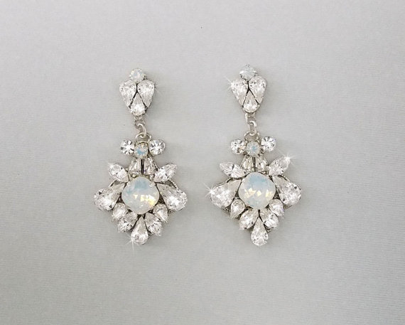 Wedding Earrings Chandelier Bridal Vintage Crystal Swarovski Crystals Opal Jewelry Mara