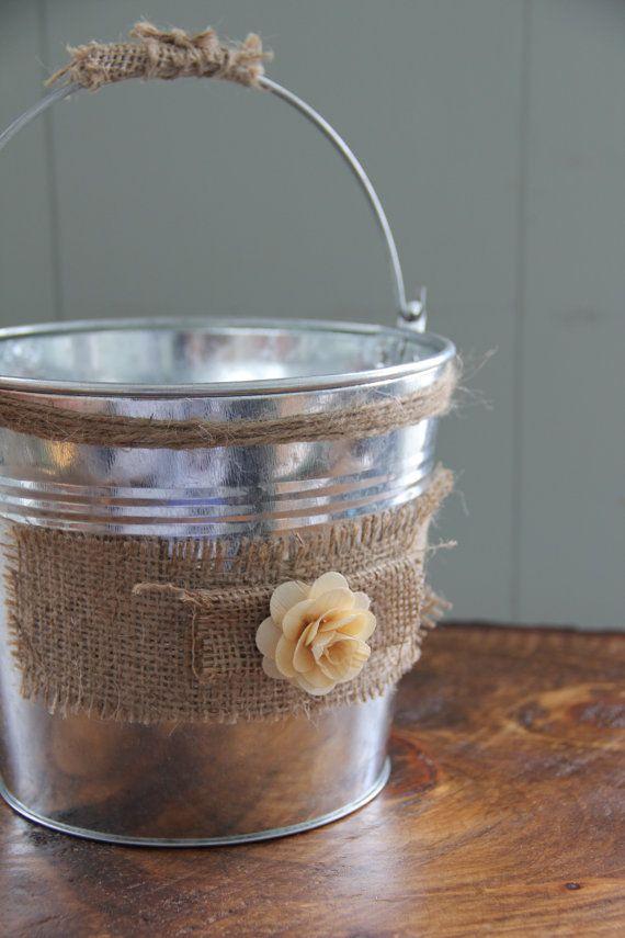 Wedding - Burlap Flower Girl Basket