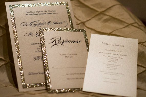 gold silver glitter wedding invitation ensemble - Wedding Invitations Gold