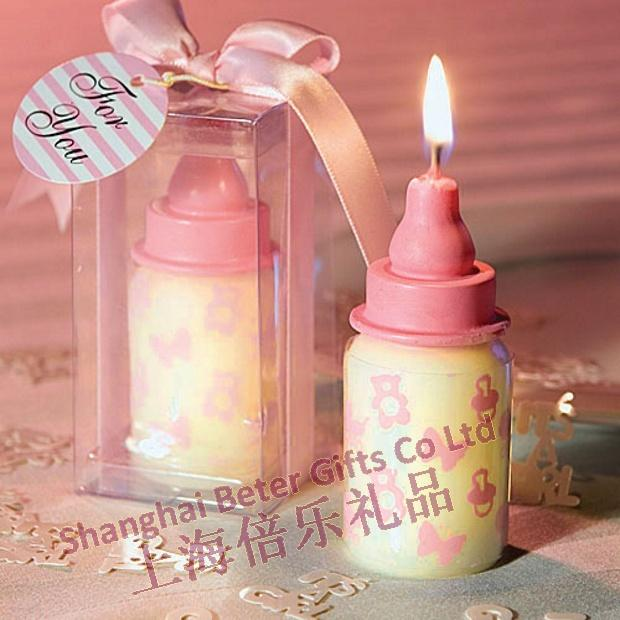 Wedding - pink baby bottle candle favors