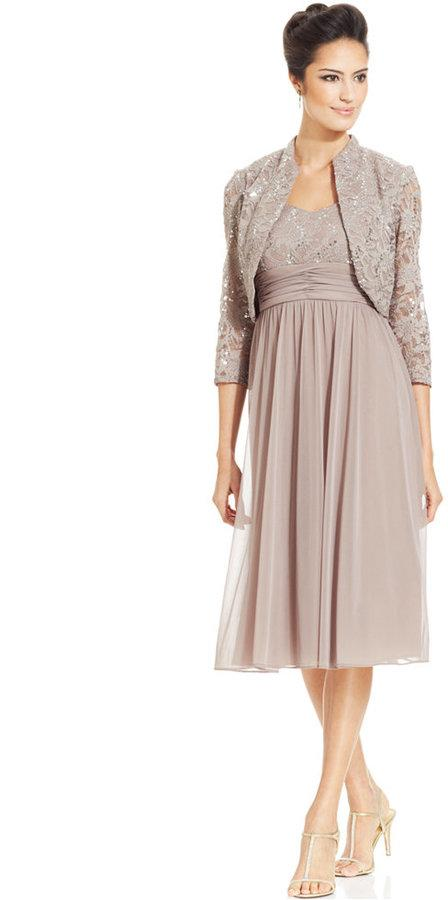 6bcf445edd5 R M Richards Petite Sequin-Lace Chiffon Dress And Jacket  2210192 ...