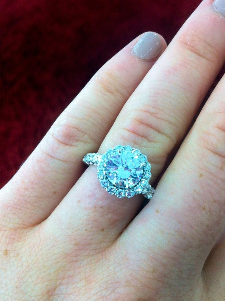 Wedding - 18k White Gold Ritani Masterwork Halo Diamond Band Engagement Ring