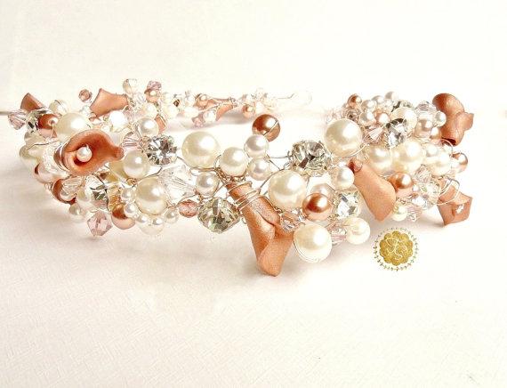 Hochzeit - Pearl Bridal Headpiece, Wedding Hair Accessory, Bridal Headband, Ivory, Rose Gold