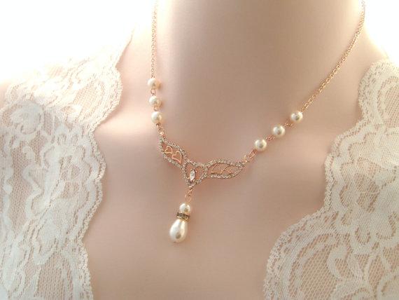 Bridal Necklace Rose Gold Vintage Inspired Art Deco Swarovski