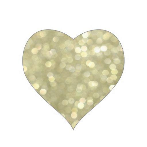 زفاف - Gold Sparkles Heart Sticker