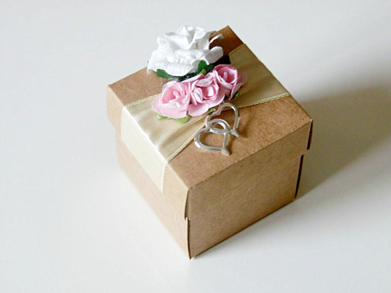 10 rustic kraft favor box with paper flowers wedding bridal shower