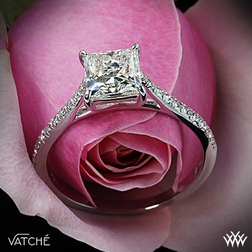 "Wedding - Platinum Vatche ""Aurora"" Diamond Engagement Ring For Princess Cut Diamonds"