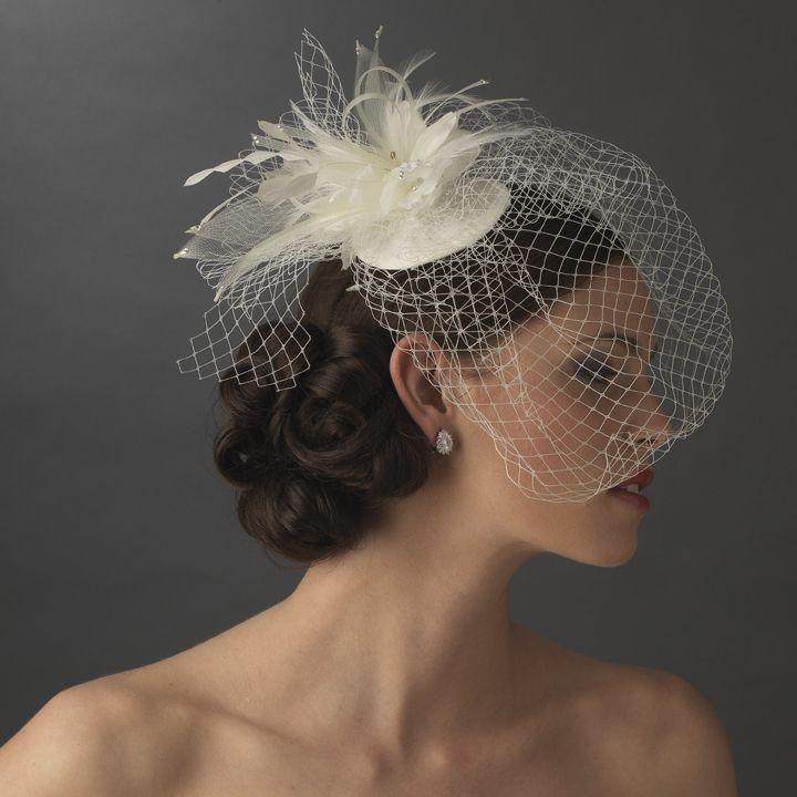 Mariage - Birdcage Veil Bridal Hat With Feathers And Rhinestones