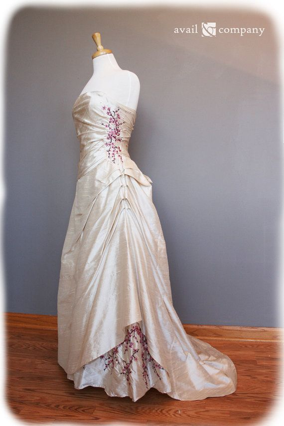 Cherry Blossom Wedding Dress Pink And Brown On Pearl Silk Duppioni ...