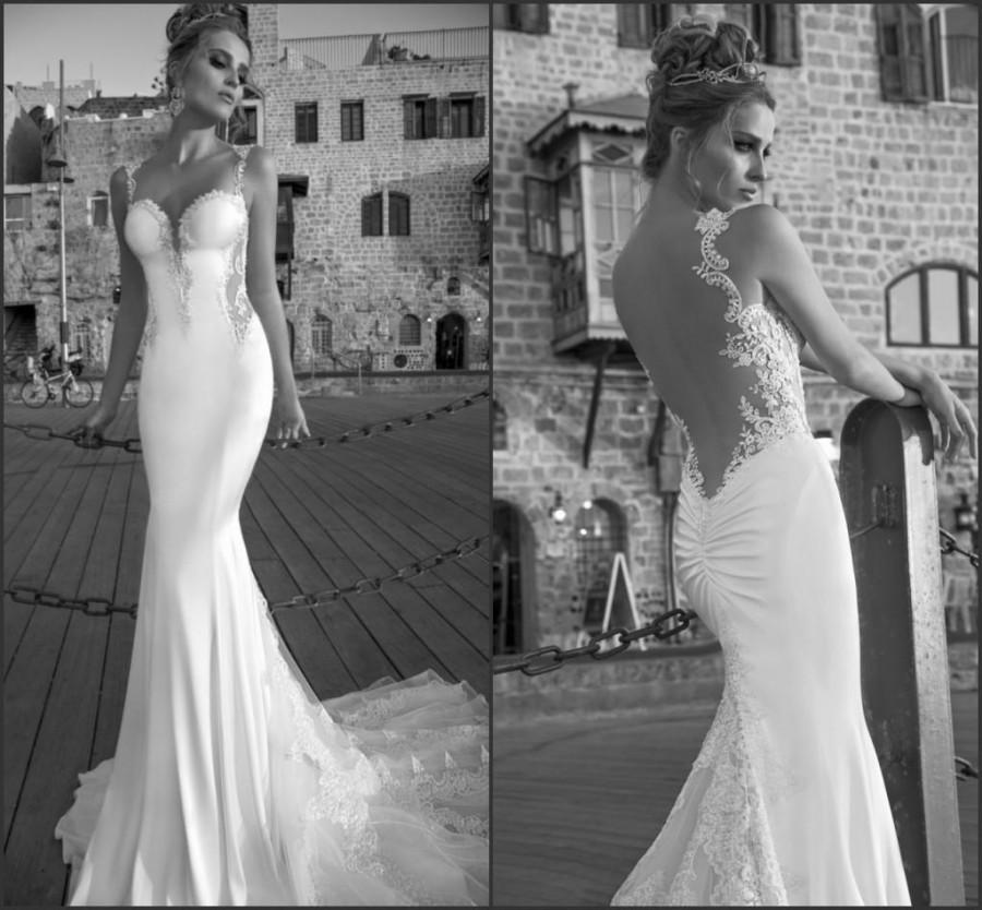 Discount Spaghetti Beach Wedding Dresses Galia Lahav Lace Sheath Sexy Sheer Mermaid Bridal Gown Chapel Train Tulle Backless Vestido De Noiva Custom Online