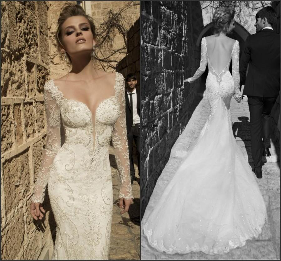 Discount mermaid galia lahav wedding dresses sheer 2015 for Lace sleeve backless wedding dress