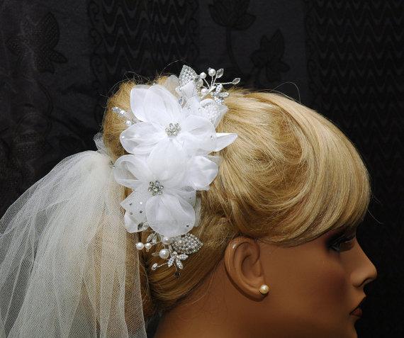 Silk Flower Bridal Hair Comb Pearl And Rhinestone Wedding Hair Comb