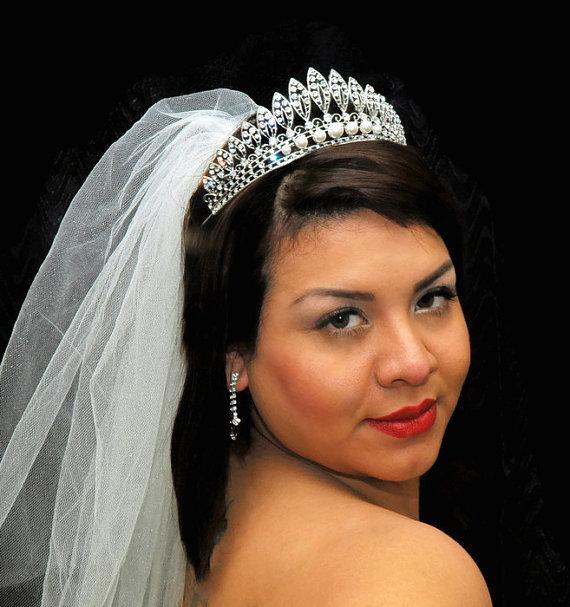 Pearl Headpieces For Brides: Bridal Wedding Headpiece, Crystal Bridal Tiara Crown
