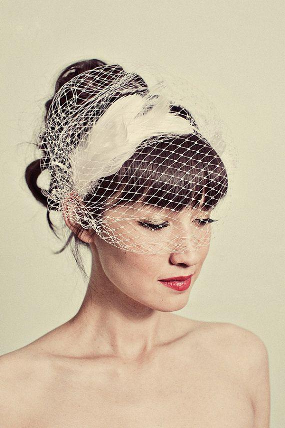 Mariage - Feather Headband With Birdcage Veil Overlay- Style 114