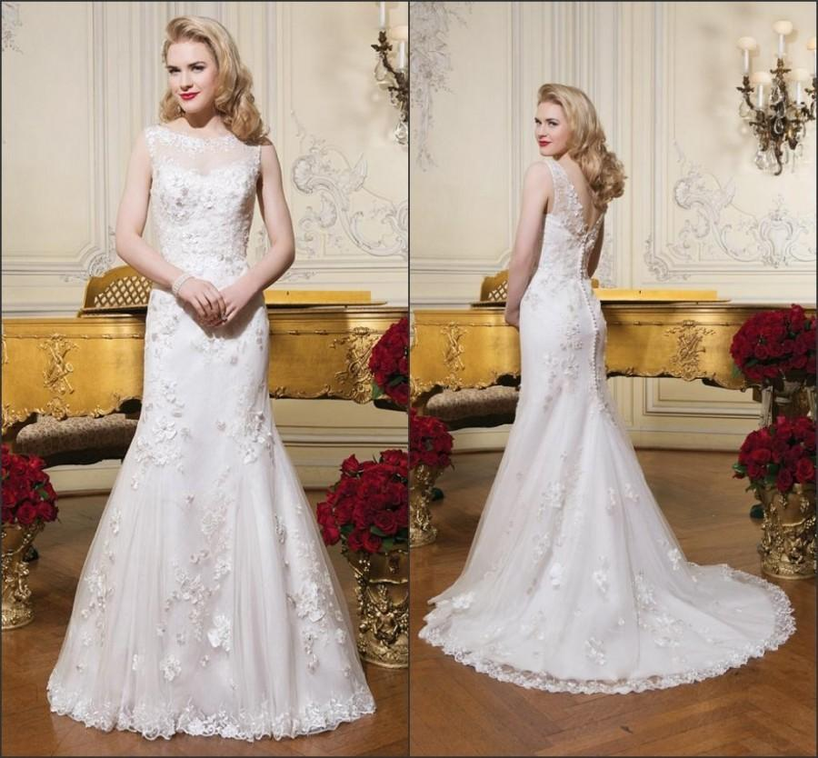 Свадьба - Cheap Train Wedding Dresses - Discount 2015 Vintage Wedding Dresses Applique Lace Scoop Sleeveless Sheer Neck Vestido De Novia Modest Bridal Ball Gowns Chapel Train Custom Online with $120.95/Piece on Hjklp88's Store